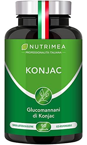 KONJAC | 640 mg 95% Glucomannano | Detox | Blocca Fame | Fibre Transito Intestinale | Rizomi | 90 Capsule