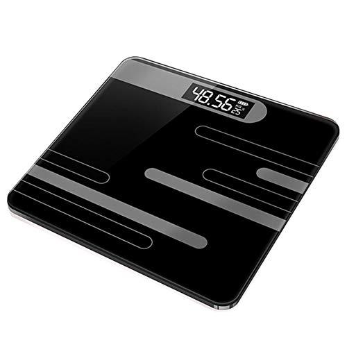 UYIDE Waagen- App Zum Ios Und Android, Bluetooth Körper Komposition Analysator, Monitor Fitness Tracker Mit USB Aufladen Schnittstelle, Passend Für Familie Badezimmer,Schwarz