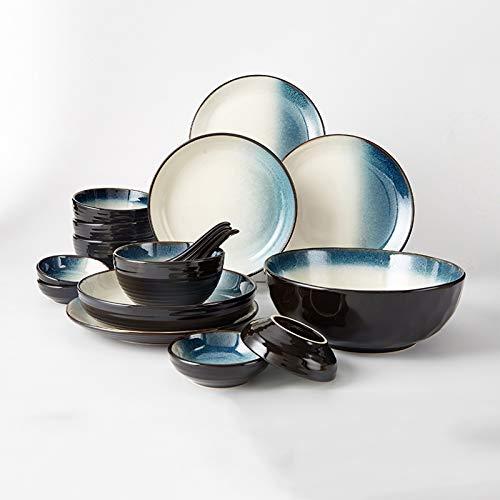 Vajilla de Plato de Cena Juego de vajillas de cerámica de 18 piezas Conjunto de placas de cena elegante, servicio para 4, conjuntos de placa de cena redonda duradera, horno de microondas y lavavajilla