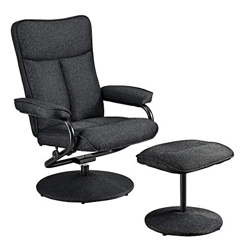 [en.casa] Relaxsessel mit Hocker Fernsehsessel inkl. Liegefunktion TV Sessel Stoffbezug schwarz