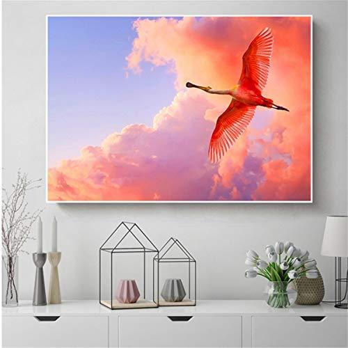 adgkitb canvas Wandkunst Red Sky Bird Canva Frühlingsdekoration Art Home Decor 30x45cm KEIN Rahmen