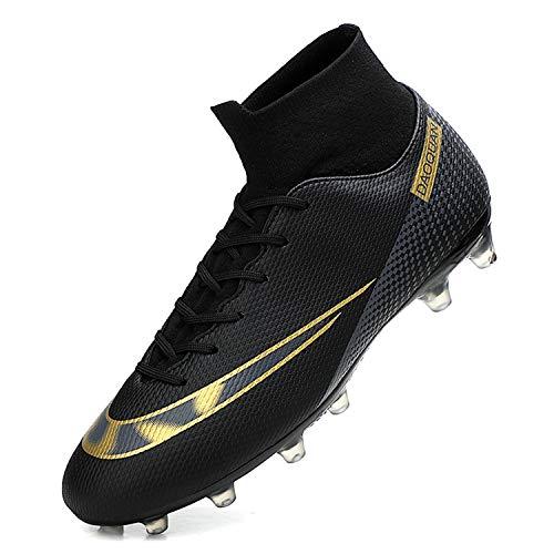 WOWEI Zapatos de Fútbol Hombre Spike Aire Libre Profesionales Atletismo Training Botas de Fútbol Zapatillas de Deporte,T2150 Negro,43 EU