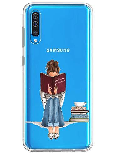 Caler Schutzhülle kompatibel mit Samsung Galaxy A70 Transparent mit TPU Muster Weiche Bumper Schutzhülle mit Motiv Carino TPU Silikon Stoßfest 3D Vogue Ultra Chic