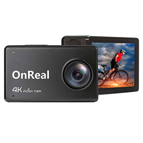OnReal B1 4K Action Camera WiFi Ultra HD 2.45' IPS Touch Screen 30M Underwater Waterproof Sport Cam with Remote Control Watch, 2 Batteries and Mounting Accessories Kits
