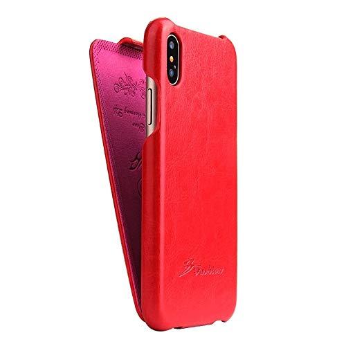 HHF Accesorios para iPhone 12/12 Pro / 12 Pro MAX 12 Mini, Funda de Cuero Genuino Vertical Flip Funda para iPhone 12 Pro MAX 12 Pro MAX 12 Mini (Color : Red, Material : For iPhone 12Pro)