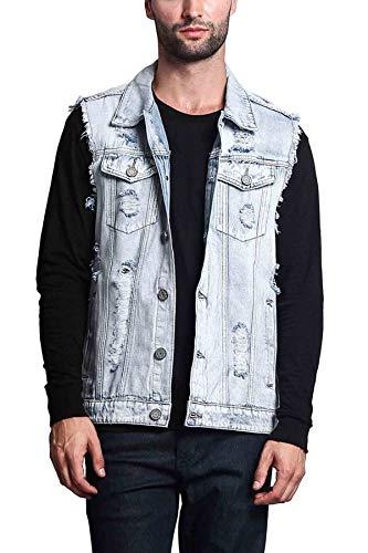 Victorious Distressed Denim Jean Vest Jacket DK101 - Classic Light Indigo - 5X-Large - A3G