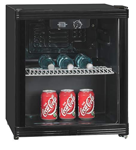 Exquisit KB 01-4.2 G sw Schwarz Getränke-Kühlbox, Glastür, 46 Liter, Innenbeleuchtung