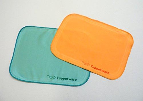 TUPPERWARE FaserPro Durchblick (2) orange türkis T18 Brillenputztuch Putztuch Brille Handy