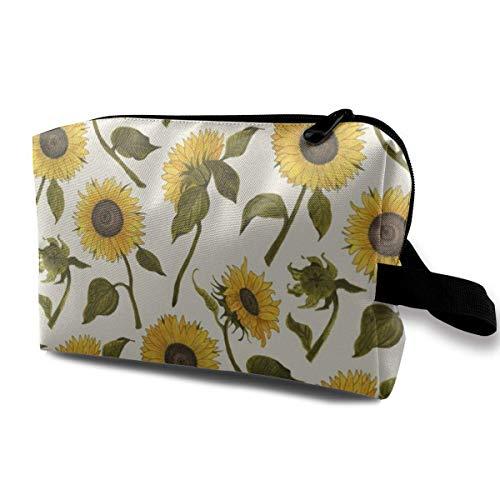 Sunflower_767 Portable Drawstring Cosmetic Bag Cosmetic Makeup Bag Waterproof Women Dark Blue
