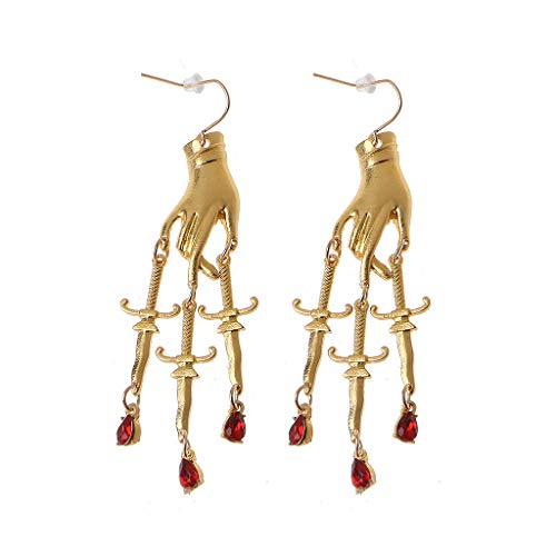 Pendientes góticos para mujer y mujer, estilo punk, diseño de cruz, pendientes colgantes de metal rojo con diamantes de imitación