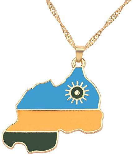 TYWZH Collar Placa Colgante Collar Bandera de la República de Irak joyería para Mujeres Hombres Ruanda Puerto Rico Mapa Colgante Collar joyería N