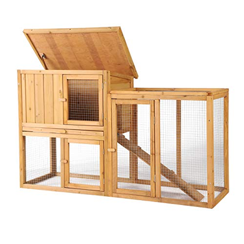 B BAIJIAWEI Wooden Rabbit Hutch - Chicken Coop Bunny Cage Poultry Pet House for Small Animals - Indoor Outdoor Pet Cage with Ventilation Door, Removable Tray, Ramp, Hinged Asphalt Roof