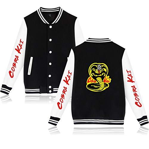 JDSWAN Unisex Baseball Jacke Cobra Kai Snake Druck Langarm Sweatshirt mit Taste Baseball Uniform