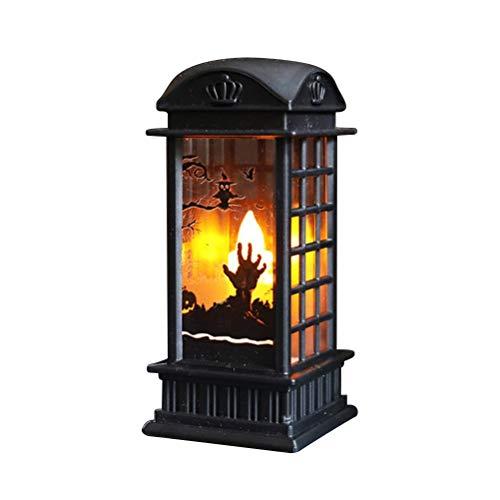 Newooh Luz de Calabaza de Halloween Retro 3D Cabina de telfono Lmpara de Linterna Decoraciones al Aire Libre