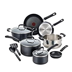 Set includes: 8 inches fry pan, 10.25 inches fry pan, 1 Egg Wonder fry pan, 1 quart; saucepan with lid, 3 quart; saucepan with lid, 5 quart; stockpot, stainless steel steamer insert, and 2 nylon tools Thermo spot indicator: The ring around the spot t...