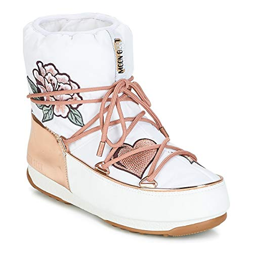 Moon Boot Womens Peace & Love WP Bianco Schneestiefel 40