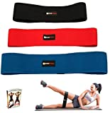 WODFitters Hip Resistance Bands - Fabric Hip Bands - Cotton Non-Slip Hip Thruster Loop Band Set - for Glute Activation, Booty Exercise and Fitness Workout… (Black Red Blue 3 Pack)