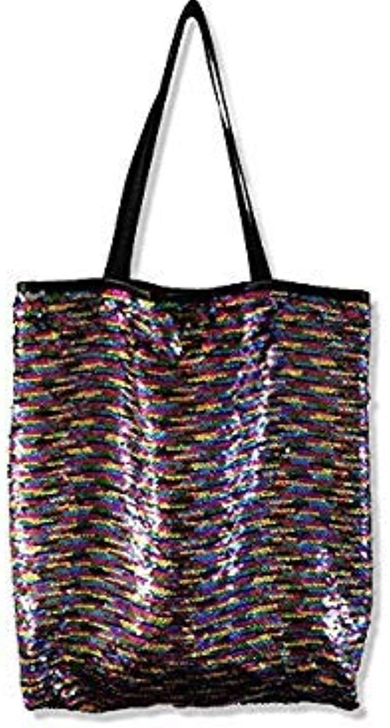 Bloomerang High Quality Sequins Large Handbag Fashion Women Mermaid Sequins Shopping Bag Double color Shiny Sequins Ladies Casual Tote color colors with Silver