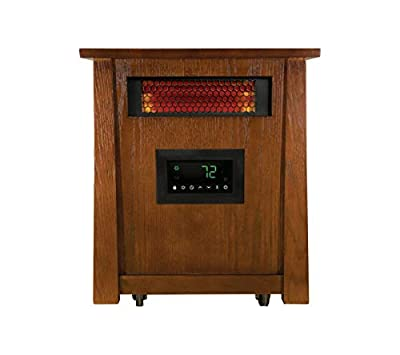 Warm-Living 1,500-Watt 8 Element Infrared Heater with Wood Cabinet and Remote for Large Room