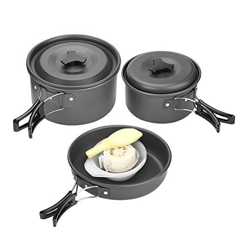 Batterie de Cuisine de Camping, Ensemble de Cuisine de Camping en Plein air pour Barbecue, Batterie de Cuisine pour 2-3 Personnes, Ensemble de Cuisine de Pique-Nique