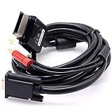 Deal4GO High Definition HDTV RCA VGA AV Composite Video Cable X851849-001 for Xbox 360 Slim Black (NO Packaging)