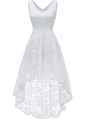 MuaDress 6666 Damen Kleid Ärmellose Cocktailkleider Knielang Abendkleider Elegant Spitzenkleid V-Ausschnitt Asymmetrisches Brautjungfernkleid Weiß M