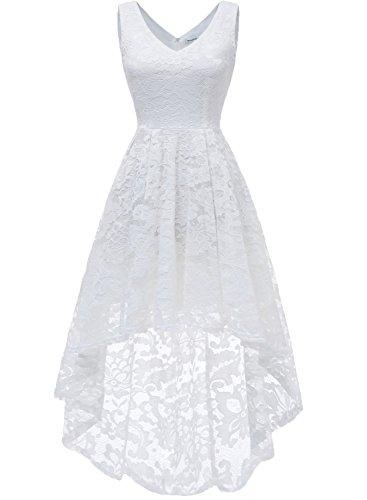 MuaDress 6666 Damen Kleid Ärmellose Cocktailkleider Knielang Abendkleider Elegant Spitzenkleid V-Ausschnitt Asymmetrisches Brautjungfernkleid Weiß XL