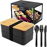 Moritz & Moritz Bento Box Japanisch – Perfekte Lunchbox für Erwachsene und Kinder - Brotdose mit Fächern – Ideal für die Arbeit, Schule und Unterwegs