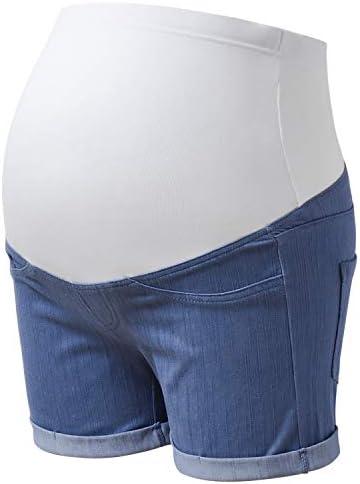 GINKANA High Waist Maternity Denim Shorts Cotton Summer Over Belly Pregnancy Shorts Linen Pants product image