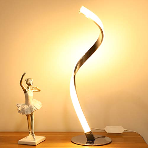 Modern Spiral LED Table Lamp for Bedrooms Living Rooms, Dimmable Office Desk Lamp, 3000K Warm White Light Nightstand Lamps, Silver Metallic Bedside Touch Lamp, Contemporary Curved Art Decoration Lamp