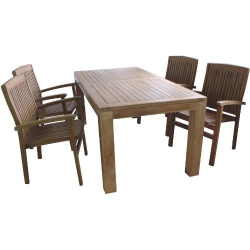 Linder Sitzgruppe Holz 180x90x75cm Tisch 4X Sessel Teak Balkon Terrasse Gartengarnitur