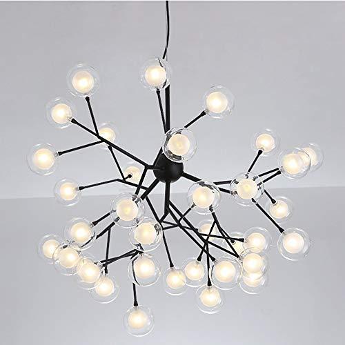 CHENJUNAMZ Lámpara de Cristal nórdica de la Sala de Estar Lámpara de araña de Bolas de Burbujas LED posmoderna Simple 36 Diámetro de la Cabeza 72 * Alto 57 cm (Color : Negro)