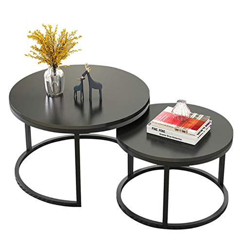 Nesting Tea Table Coffee Tables, Set of 2, Round Black MDF Top, with Stacking Metal Frame, for Living Room and Office