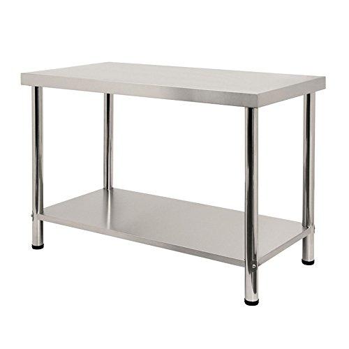 LARS360 Mesa de Trabajo de Cocina acero inoxidable, para gastronomia, preparacion de alimentos, cocina, bar, restaurante, metal, L x B x H: 120 * 60 * 85 cm, sin protector contra salpicaduras