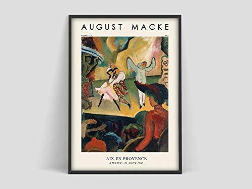 Póster de August Macke, póster de Macke Balle Russo, póster de exposición de arte, impresión de arte de Expressionisme, pintura en lienzo sin marco Q-82 20x30cm