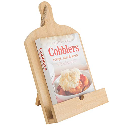 MyGift Cutting Board Style Beige Bamboo Cookbook Holder with Kickstand