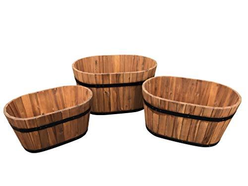 Lot de 3 pots de fleurs de jardin ovale en bois d'acacia – Idéal pour les jardins, Balcones, pots de fleurs jardinières Pots de fleurs, arbre