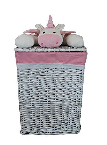 dvier Cesto para la ropa (mimbre, 37 x 27 cm, altura 50 cm), diseño de unicornio, color blanco y rosa