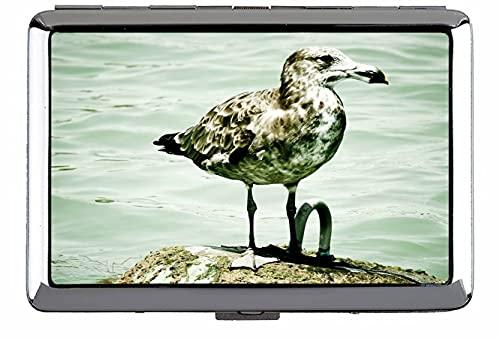 Caja de cigarrillos, isla de la gaviota sentada pájaro pájaro abierta bolsillo para 330 cigarrillos C023