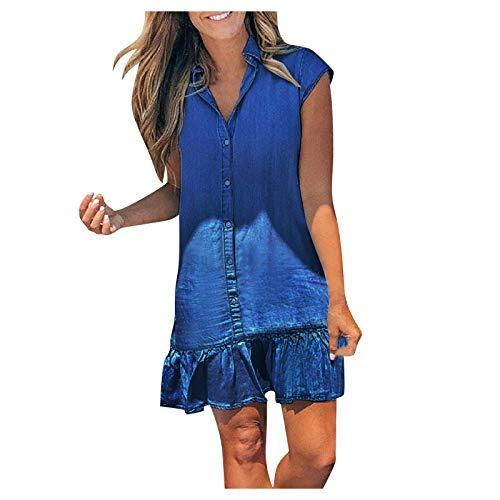 Dasongff Damen Kleider Strand Elegant Casual A-Linie Kleid Ärmellos Sommerkleider Denim Strandkleider Jeanskleider mit Knopf Freizeitkleider...