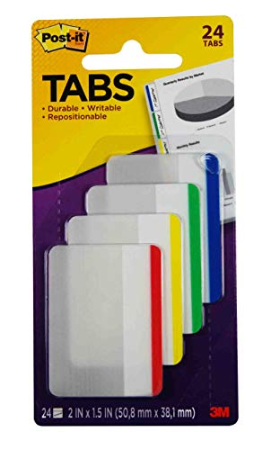 Post-it Tabs, 2 in., Lined, Assorted Primary Colors, Durable, Writable, Repositionable, Sticks Securely, Removes Cleanly, 6 Tabs/Color, 4 Colors, 24 Tabs/Pack, (686F-1),Assorted Primary Colors Lined