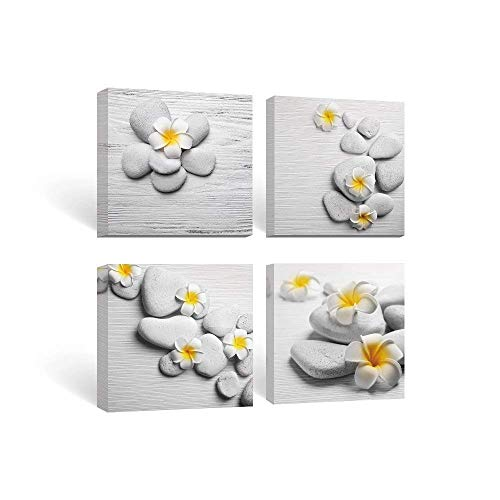 SUMGAR Framed Wall Art Bathroom Gray Yellow Flower Pictures...