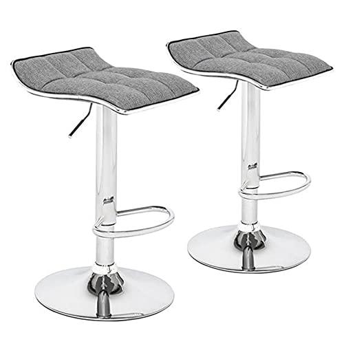 GOLDEN MANGO Juego de 2 taburetes de bar, cojín cuadrado con bordes de tabla, decoración de costura de nueve rejillas, piel sintética, cojín cuadrado, chasis plateado, silla de barra giratoria