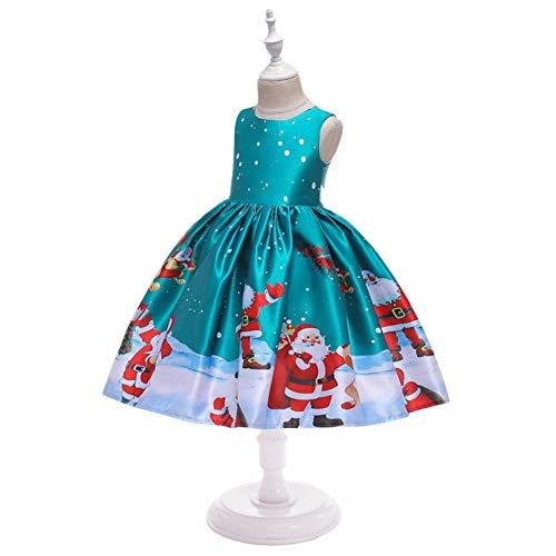 Twnhmj 3-10 Jaar, Nieuwste Peuter Kids Baby Meisjes Santa Print Prinses Jurk Kerst Outfits Kleding voor Peuter Kind Mouwloze Kleding Past Kerstmis met Haarband