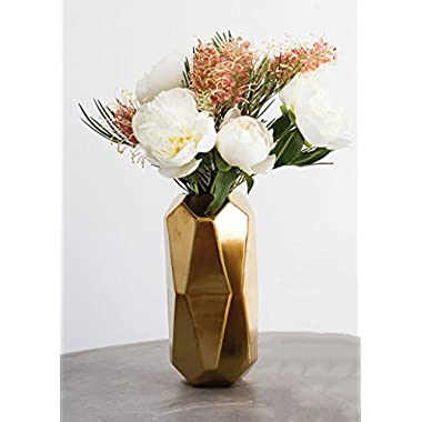 Maven Ceramic Geometric Cylinder Floral Vase in Gold - 8  Tall