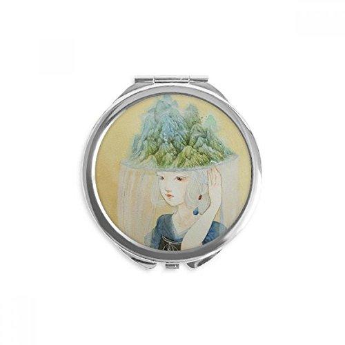DIYthinker Hüte Beauty Chinesische antike Illustrator Spiegel Runde bewegliche Handtasche Make-up 2.6 Zoll x 2.4 Zoll x 0.3 Zoll Mehrfarbig