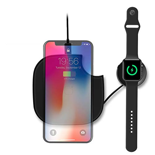 2 in 1,Travel Wireless Charger, Qi-Certified 10W Fast Wireless Charging Compatible with iPhone 11/11 Pro/XS MAX/XR/XS/8Plus,Apple Watch 1/2/3/4/5,Airpods,Galaxy S10/S10+/S10E/S9/S9+,(No AC Adapter)