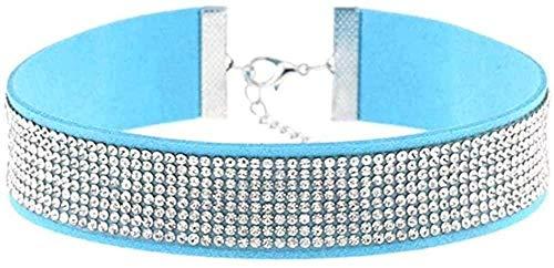 LKLFC Collar de Cuero con Diamantes de imitación Gargantilla Collar Mujer Gargantilla de Cristal declaración Gargantilla Collar joyería Colgante Collar Regalo para Mujeres Hombres niñas niños