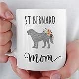 Taza de San Bernardo para mamá, Taza de café de cerámica, Divertida Novedad, Regalo de San Bernardo para mamá, Perro, mamá, Taza de té, cumpleaños, inauguración de la casa para homb