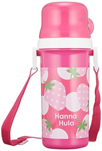 ハンナフラ(Hanna Hula) キッズ コップ付直のみプラボトル? いちご ランチシリーズ 水筒 プッシュ式開閉 日本製 食洗機OK お名前シール付き 子供用かわいいお弁当グッズ